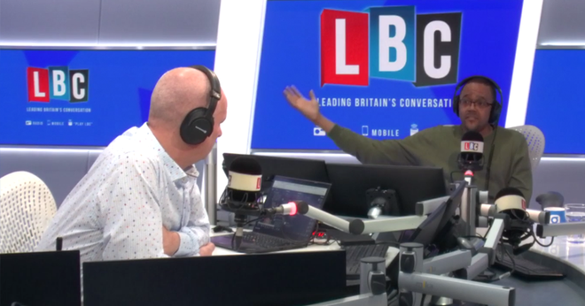 Iain Dale and Dr Kehinde Andrews in the LBC studio