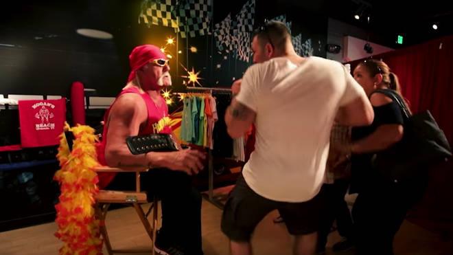 Hulk Hogan poses as a waxwork