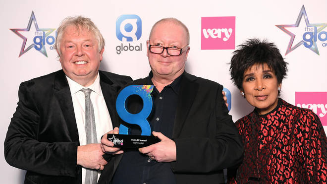 Steve Allen with Nick Ferrari and Moira Stuart after winning the LBC award