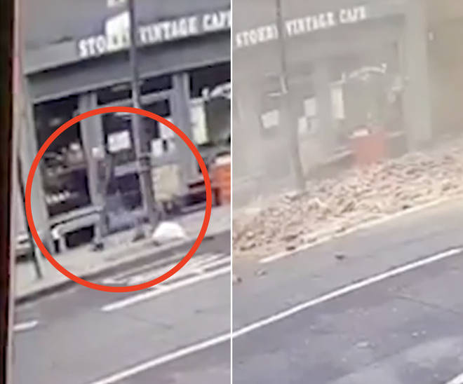 The man narrowly escapes being crushed under a falling roof