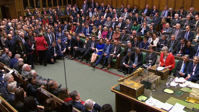 Theresa May speaking in the House of Commons after her deal is rejected for the second time