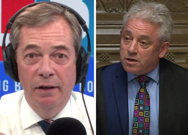 Nigel Farage gave his reaction to John Bercow's Brexit ruling on Monday