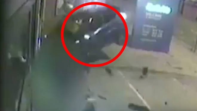 The heart-stopping moment was caught on CCTV
