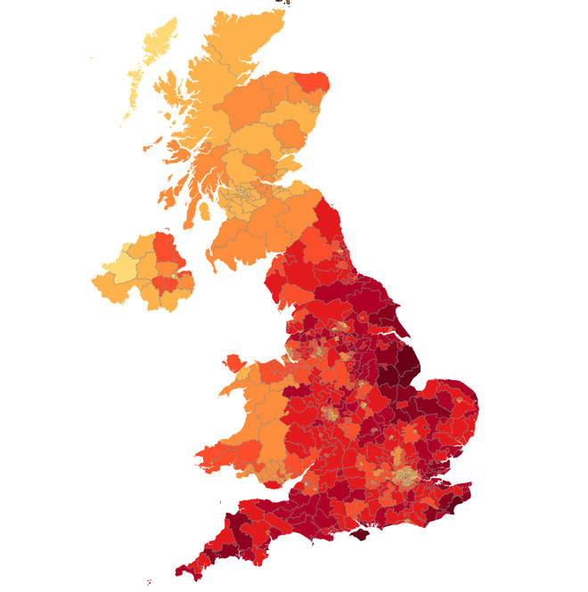 Signatures for the no-deal petition were from all over England