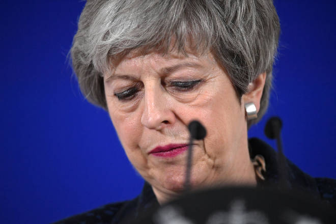 Theresa May speaking in Brussels after the EU agreed a conditional extension of Article 50