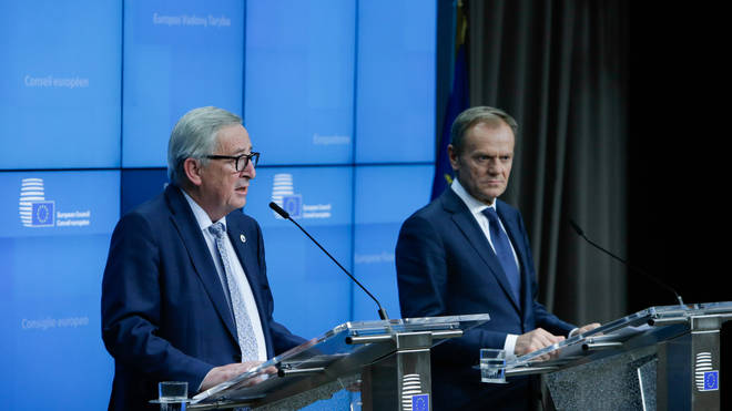 President of the European Commission Jean-Claude Juncker and European Council President Donald Tusk speaking in Brussels at the European Summit