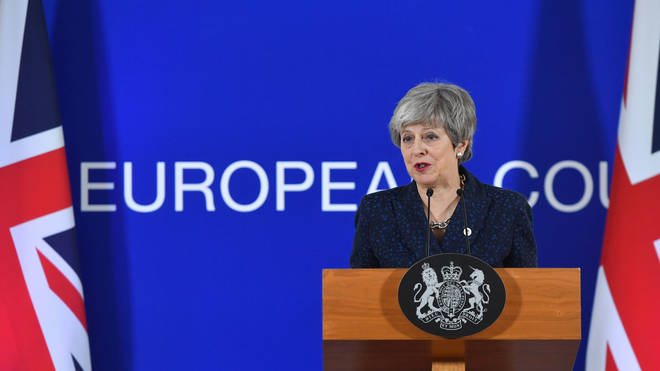 Theresa May speaking in Brussels after the EU granted a conditional extension to Article 50