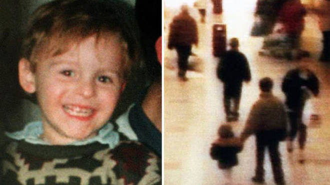 James Bulger, being led away by his murderers