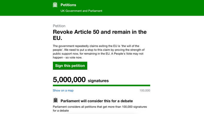 Revoke Article 50 petition reaches its 5 millionth signature