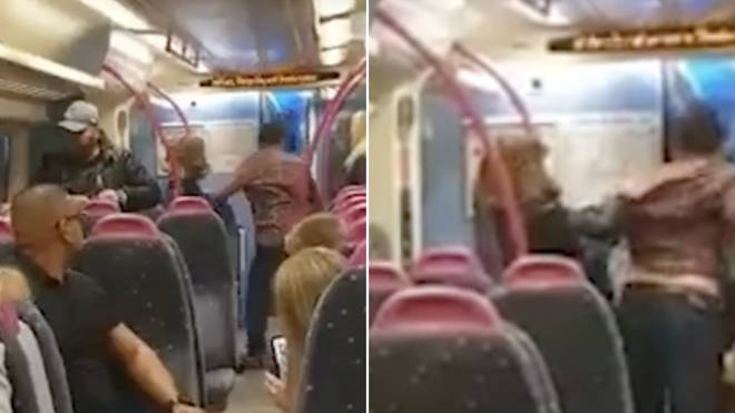 Passengers try to kick open a locked train door after screaming 'he's going to stab him'