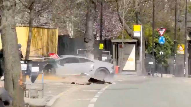 The moment a show-off driver wrecked his £250,000 Lamborghini
