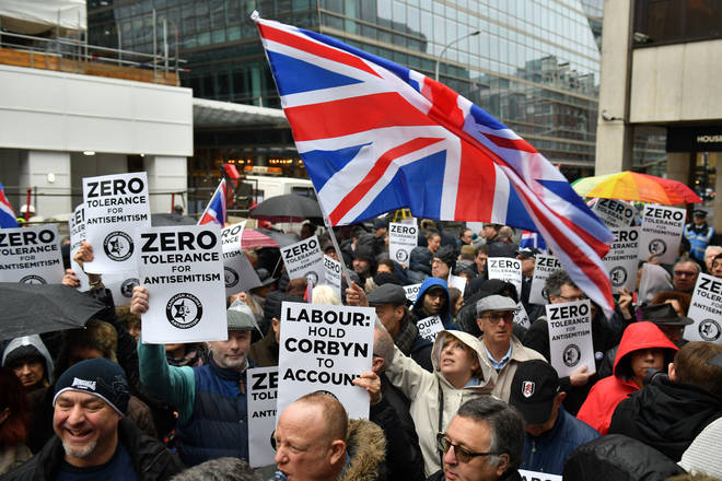 People protesting against anti-Semitism in the Labour Party