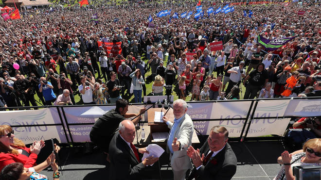 Labour leader Jeremy Corbyn addresses the crowd during the Durham Miners' Gala at Durham Old Racecourse Photo: PA