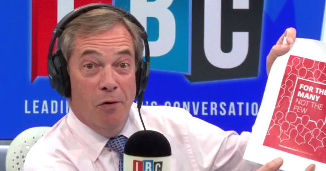 Nigel Farage reached for a copy of Labour's election manifesto as he slammed the party