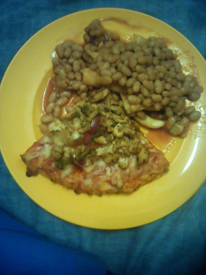 Pizza with chips and beans
