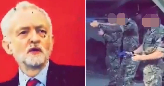 Soldiers shooting at a picture of Jeremy Corbyn
