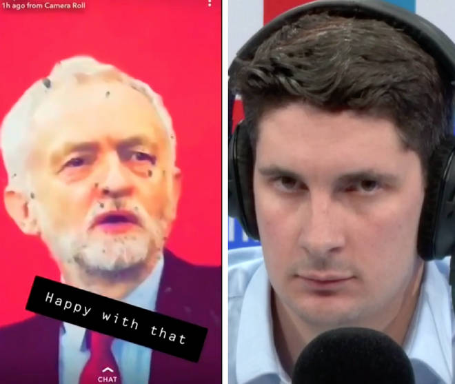 A video of soldiers firing at a Jeremy Corbyn poster sparked a huge LBC row
