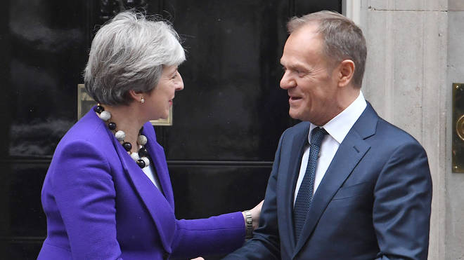 Theresa May and Donald Tusk at a previous meeting