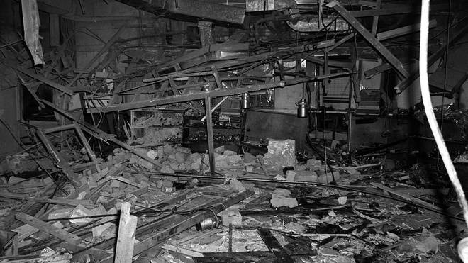 Rubble in the Mulberry Bush pub following the 1974 bombing
