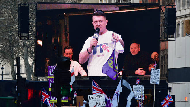 Tommy Robinson, real name Stephen Yaxley-Lennon, spoke to pro-Brexit supporters outside the Houses of Parliament in London.