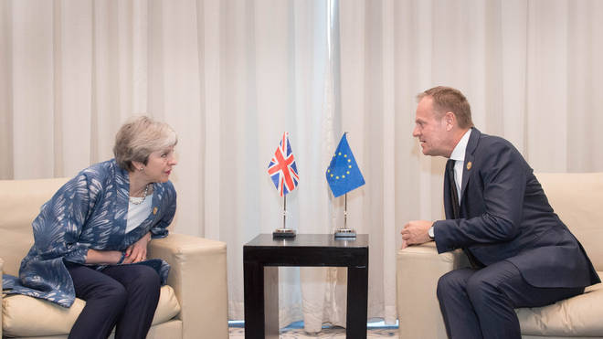 Theresa May with Donald Tusk at the first Arab-European Summit in February