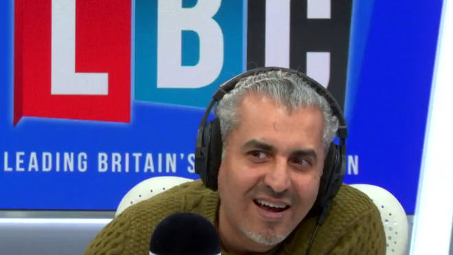 "The moment a listener called Maajid a ""fanatical right wing"" presenter took him by surprise."