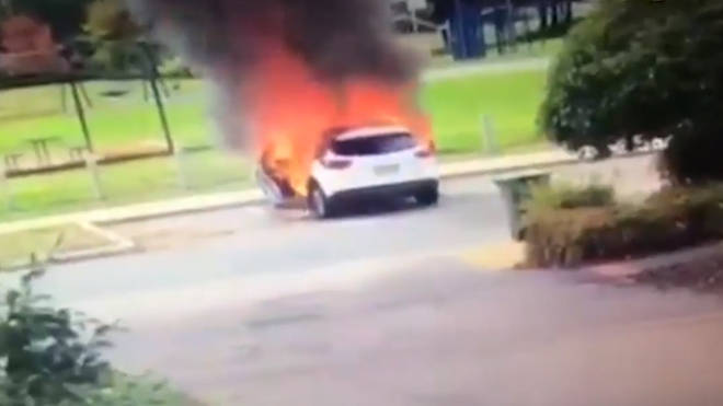 Brave Mum Pulls Two Kids From From Car Seconds Before It Explodes