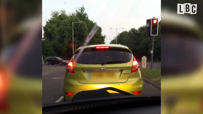 Dashcam footage appears to show the driver watching the Champions League Final on his phone