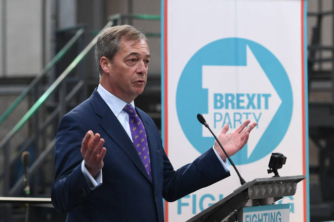Nigel Farage addresses the crowd at the launch of the new Brexit Party