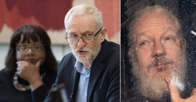 Jeremy Corbyn and Diane Abbott have been criticised for appearing to downplaying allegations of rape against Julian Assange