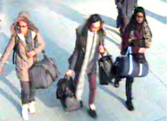 Shamima Begum before catching a flight to Turkey in 2015 to join the Islamic State group.