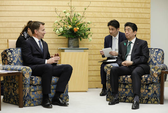 Jeremy Hunt met with Japanese Prime Minister Shinzo Abe