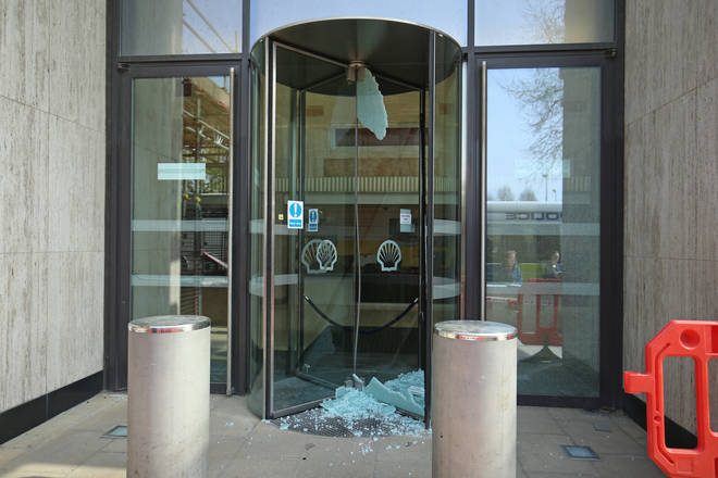 Shattered doors at the Shell HQ