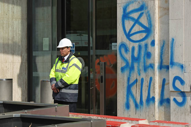Damage to the Shell Centre following protests