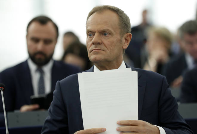 Donald Tusk addresses the EU Parliament