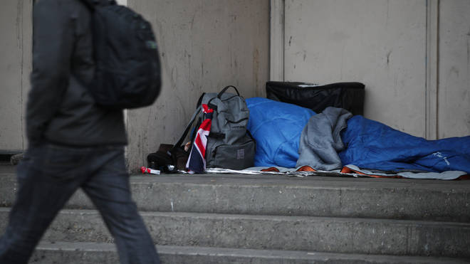 A rough sleeper in London