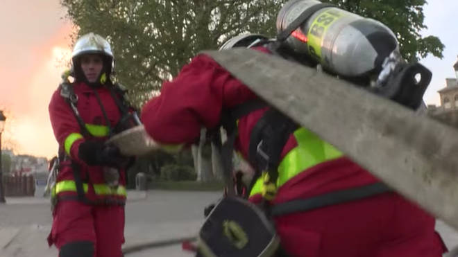 The Paris Fire Brigade have released footage showing the scale of the blaze