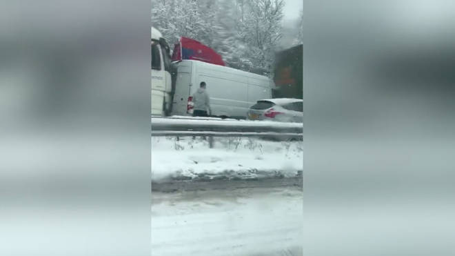 The 17-vehicle pile up took place on the A120 on Tuesday morning
