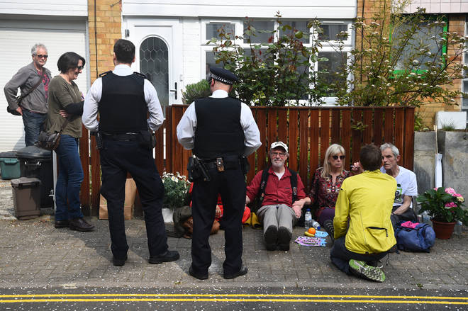 Protesters outside the Labour leader's home