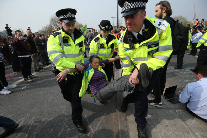 More than 200 protesters have been arrested on Waterloo Bridge alone