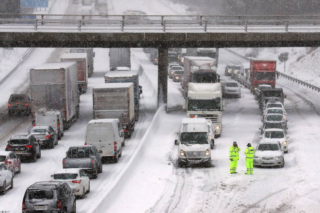 Heavy snow has sparked travel chaos across Britain