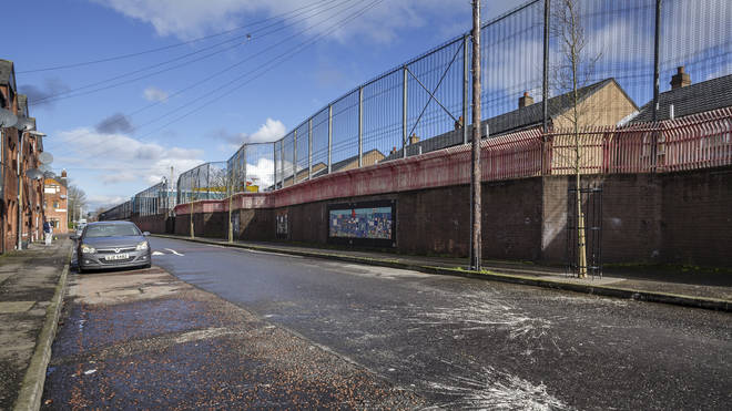A 'peace wall' in Belfast, Northern Ireland