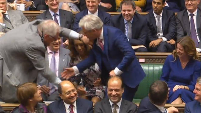 John Bercow being dragged to his chair by MPs after being elected speaker