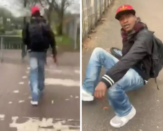A have-a-go hero filmed the moment he chased down the suspect
