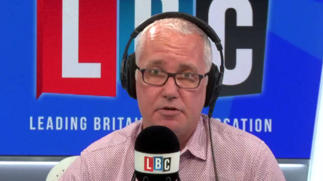 Eddie Mair took on an angry LBC caller on Thursday