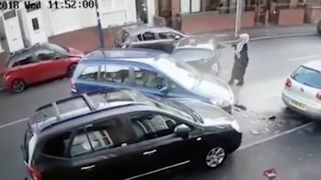 The remarkable parking attempt was captured on CCTV