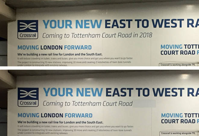 Crossrail signage at London's Tottenham Court Road Tube station with references to Crossrail opening in December 2018 covered up.