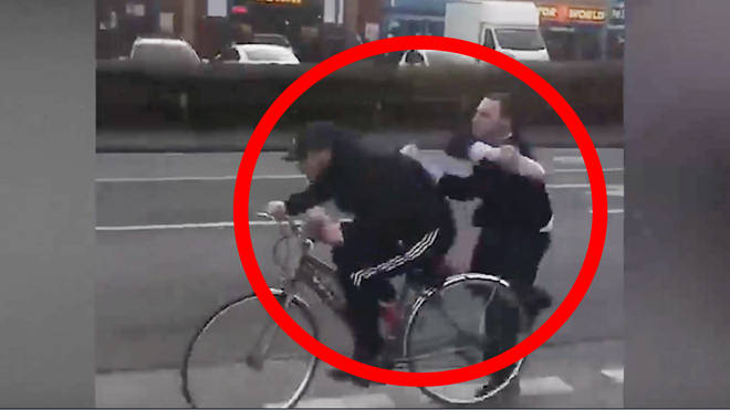 The shocking incident was caught on camera by a stunned passerby