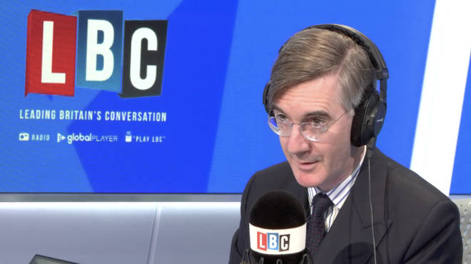 Conservative MP Jacob Rees-Mogg in the LBC studio