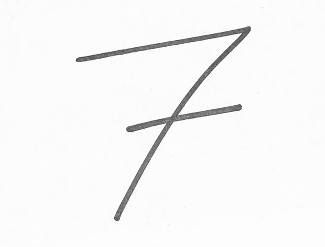 The number 7 with a line drawn through it